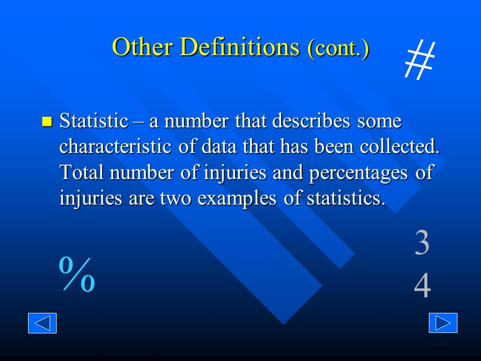 Other Definitions (cont.) Data – any information collected for a specific purpose.
