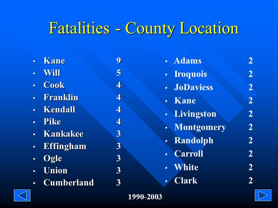 Injuries/Fatalities - County Location 1990-2003 Stephenson (6) Jackson (6) Livingston (6) Edgar (6) Jasper (6) Saline (6) Cook (5) Grundy (5) Henry (5) Kendall (5) Union (5) Fayette (5) Lawrence (4) Saint Clair (4) Wabash (4) Wayne (4) Ogle (19) White (14) Clay (13) Will (12) Kane (11) Franklin (11) Perry (11) Pike (10) Jo Daviess (10) Montgomery (8) Adams (8) Clinton (8) Kankakee (8) LaSalle (7) Effingham (7) Iroquois (7) Marion (4) Edwards (4) Lake (4) Warren (4) Clark (4) Peoria (4) Whiteside (4) Hancock (2) Crawford (2) Cumberland (2) Macoupin (2) Tazewell (2) Winnebago (2) Sangamon (2) Hancock (2)