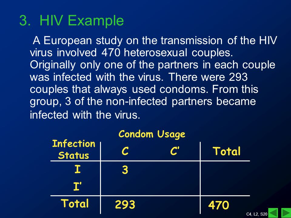 C4, L2, S20 A European study on the transmission of the HIV virus involved 470 heterosexual couples.