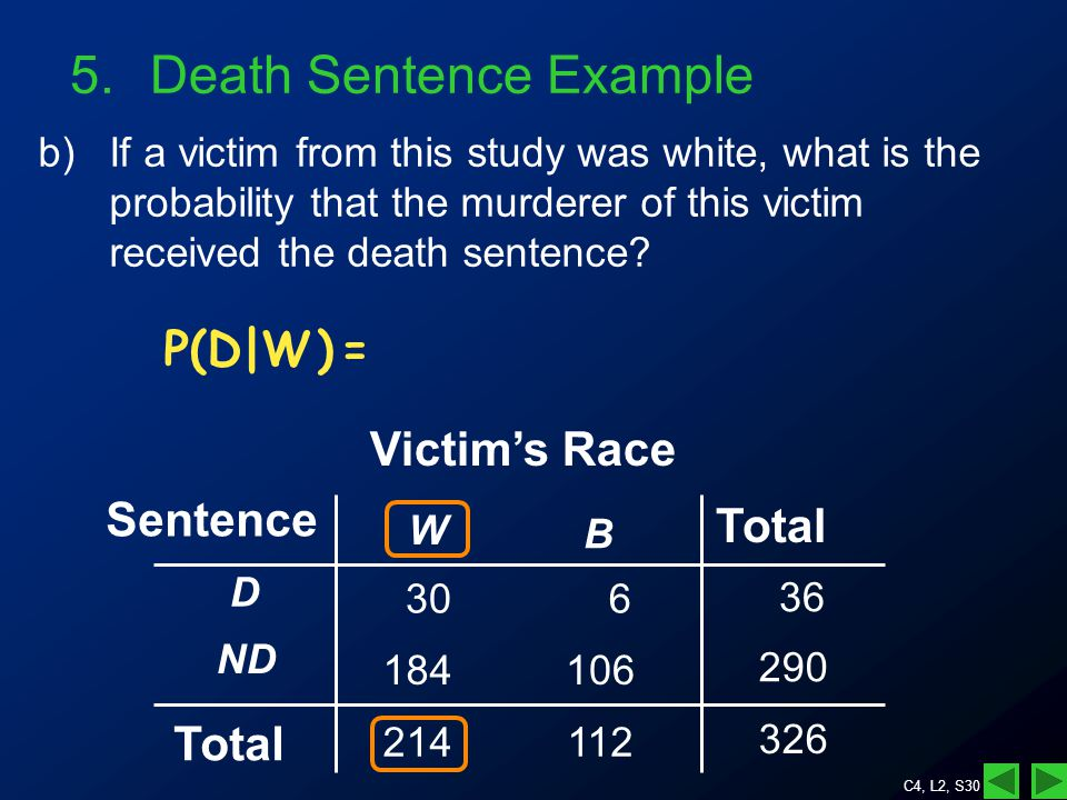 C4, L2, S30 5.Death Sentence Example b)If a victim from this study was white, what is the probability that the murderer of this victim received the death sentence.