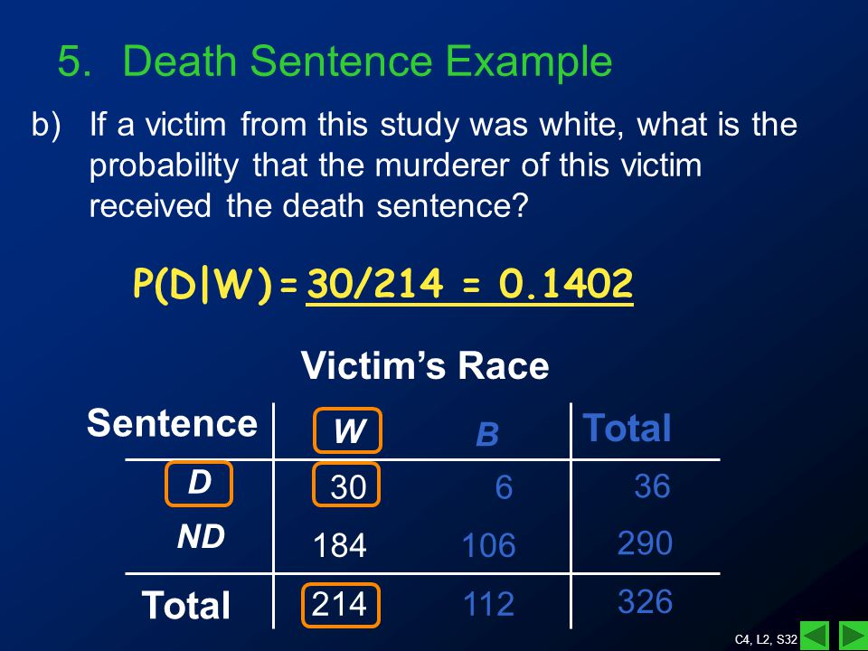 C4, L2, S32 5.Death Sentence Example b)If a victim from this study was white, what is the probability that the murderer of this victim received the death sentence.
