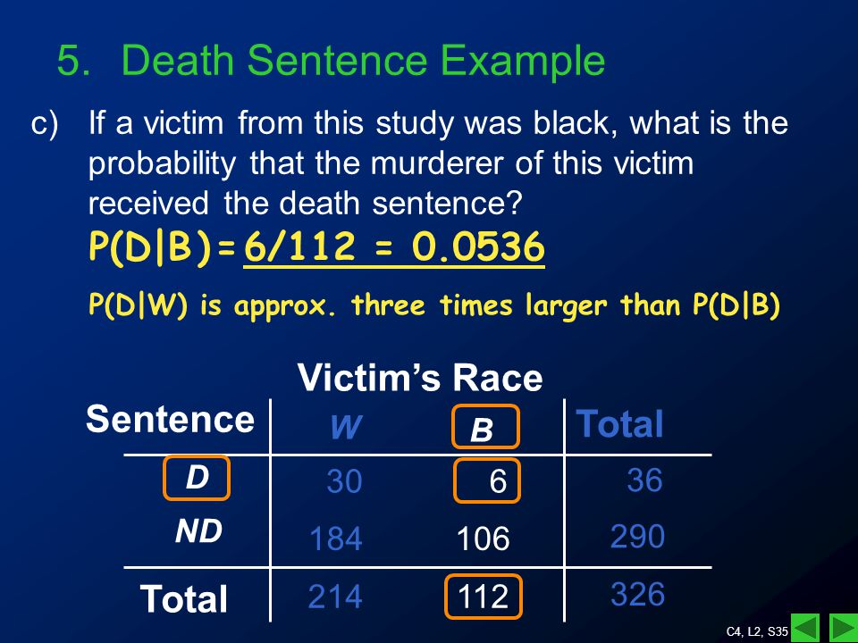 C4, L2, S35 5.Death Sentence Example c)If a victim from this study was black, what is the probability that the murderer of this victim received the death sentence.