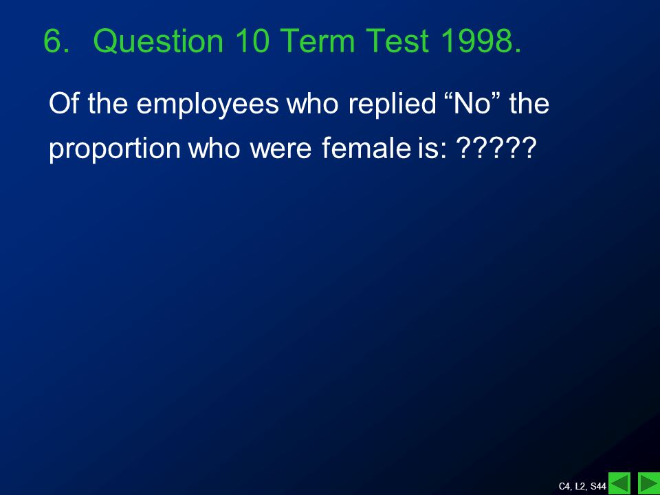 C4, L2, S44 Of the employees who replied No the proportion who were female is: .