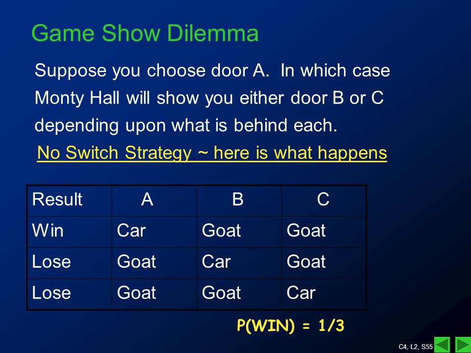 C4, L2, S55 Game Show Dilemma Suppose you choose door A.