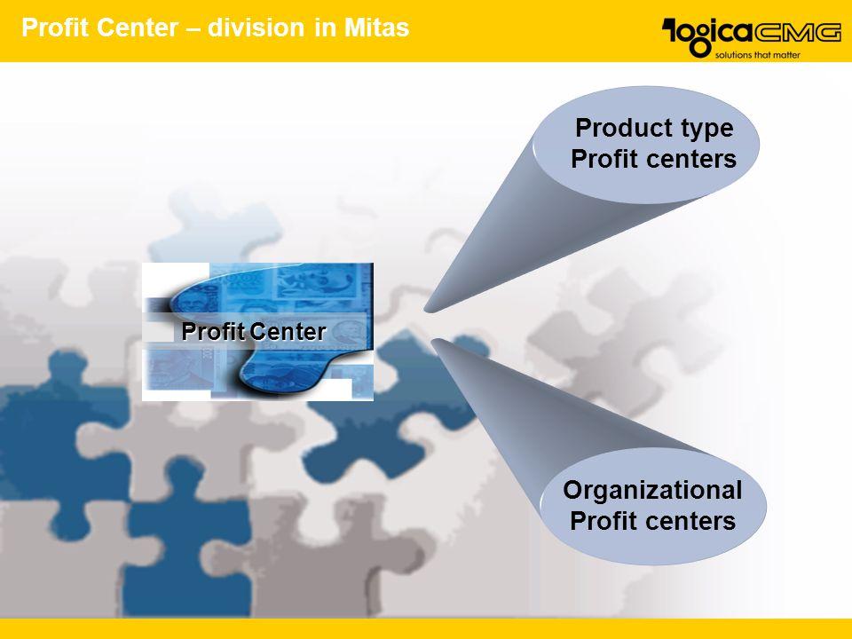 Profit Center – division in Mitas Organizational Profit centers Profit Center Product type Profit centers