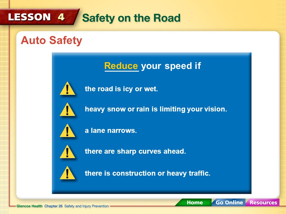 Auto Safety Reduce your speed if the road is icy or wet.