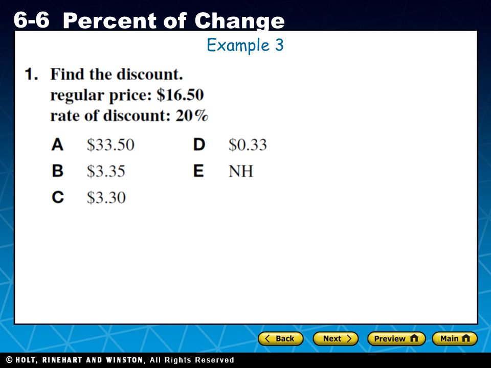 Holt CA Course 1 6-6 Percent of Change Example 3