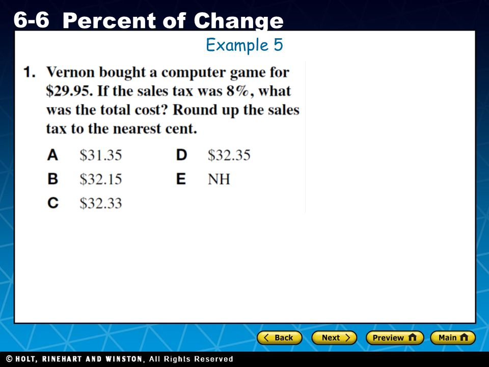 Holt CA Course 1 6-6 Percent of Change Example 5