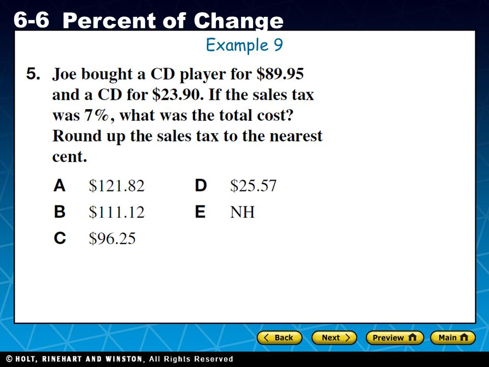 Holt CA Course 1 6-6 Percent of Change Example 9