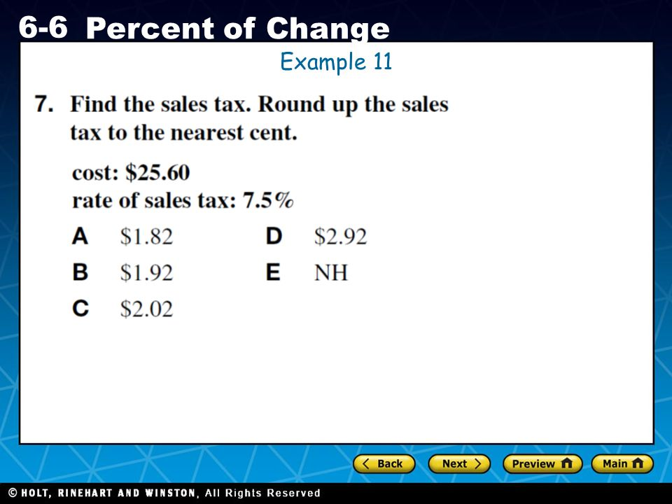 Holt CA Course 1 6-6 Percent of Change Example 11