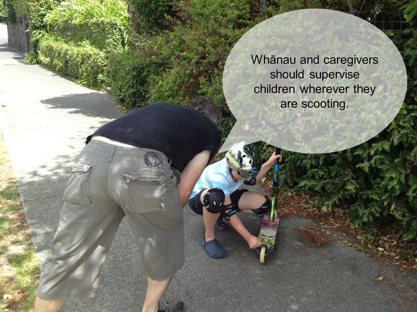 Whānau and caregivers should supervise children wherever they are scooting.