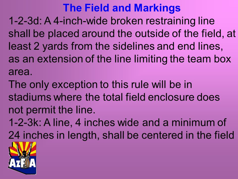 The Field and Markings 1-2-3d: A 4-inch-wide broken restraining line shall be placed around the outside of the field, at least 2 yards from the sidelines and end lines, as an extension of the line limiting the team box area.