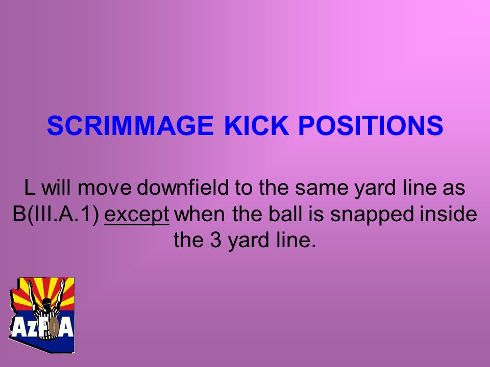 SCRIMMAGE KICK POSITIONS L will move downfield to the same yard line as B(III.A.1) except when the ball is snapped inside the 3 yard line.