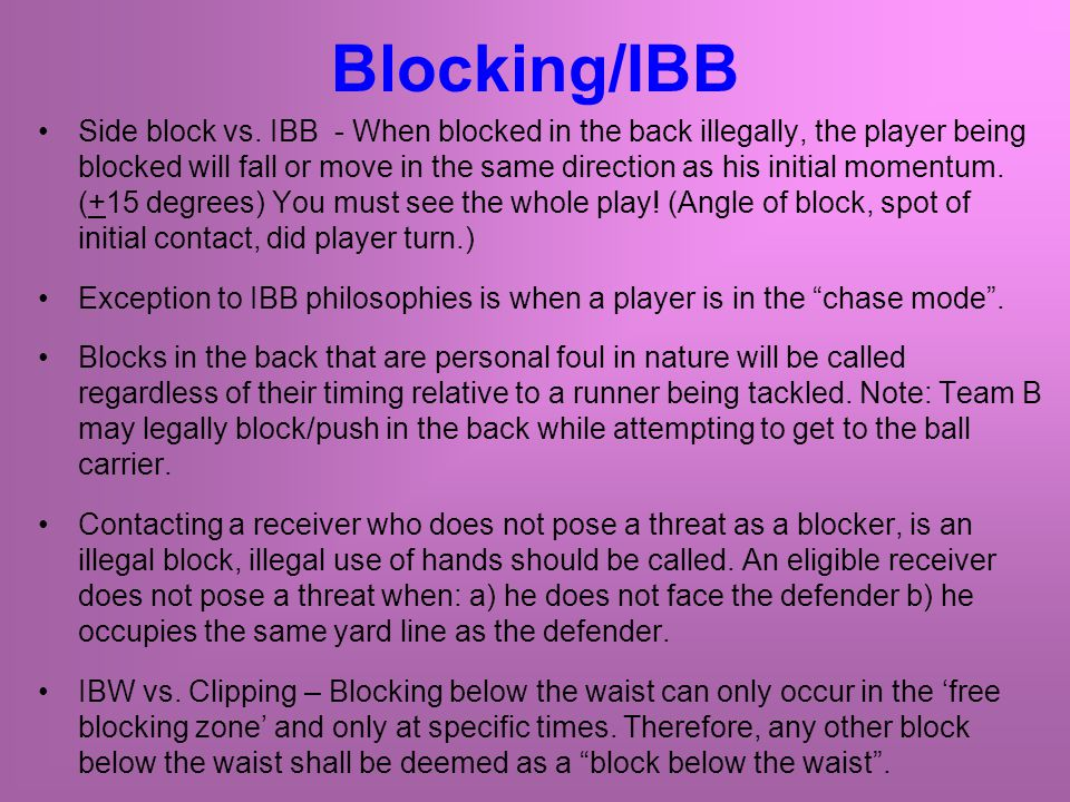 Blocking/IBB Side block vs.