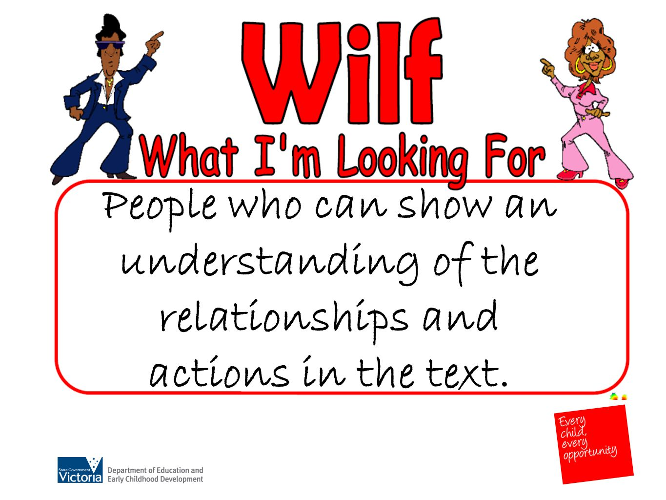 People who can show an understanding of the relationships and actions in the text.