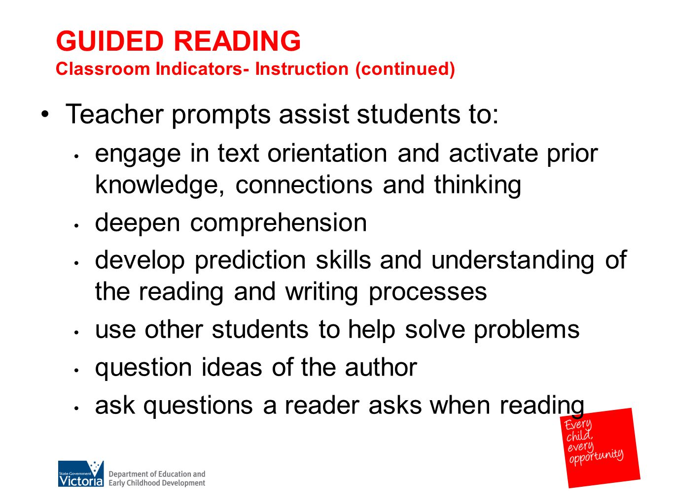 GUIDED READING Classroom Indicators- Instruction (continued) Teacher prompts assist students to: engage in text orientation and activate prior knowledge, connections and thinking deepen comprehension develop prediction skills and understanding of the reading and writing processes use other students to help solve problems question ideas of the author ask questions a reader asks when reading