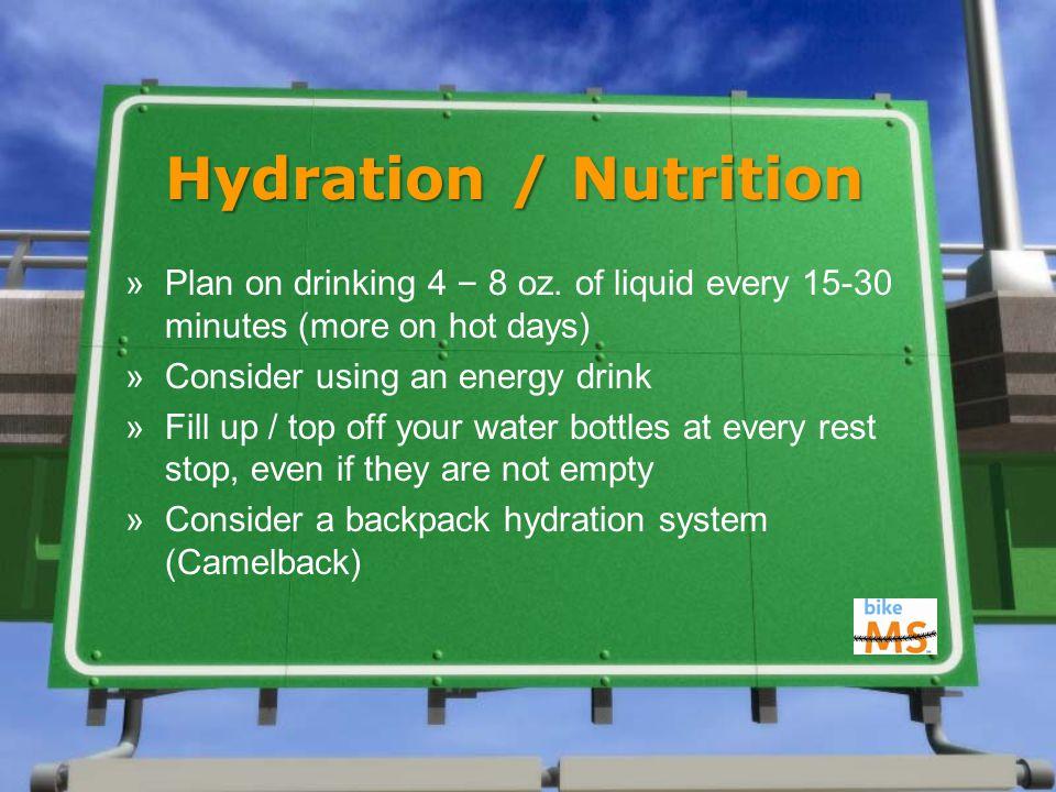 Hydration / Nutrition »Plan on drinking 4 – 8 oz.