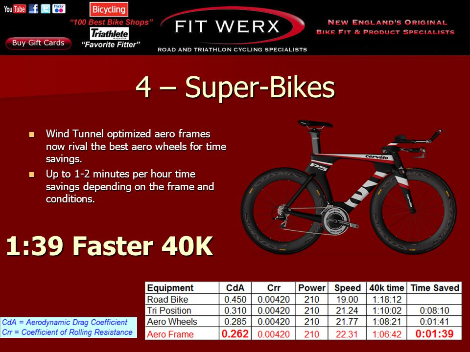 4 – Super-Bikes Wind Tunnel optimized aero frames now rival the best aero wheels for time savings. Wind Tunnel optimized aero frames now rival the bes