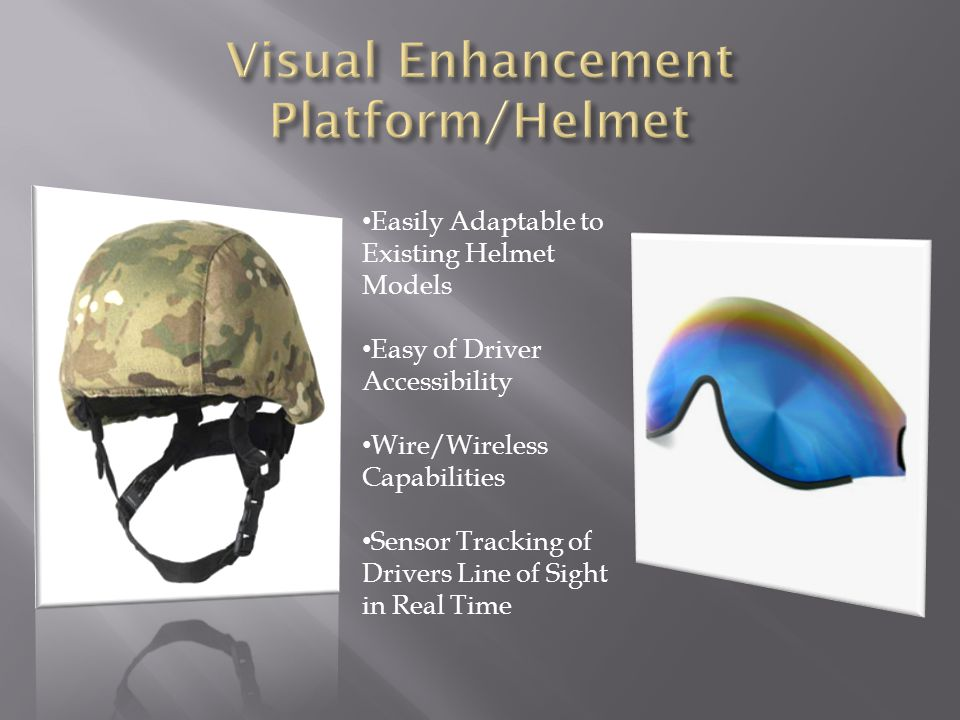 Easily Adaptable to Existing Helmet Models Easy of Driver Accessibility Wire/Wireless Capabilities Sensor Tracking of Drivers Line of Sight in Real Ti