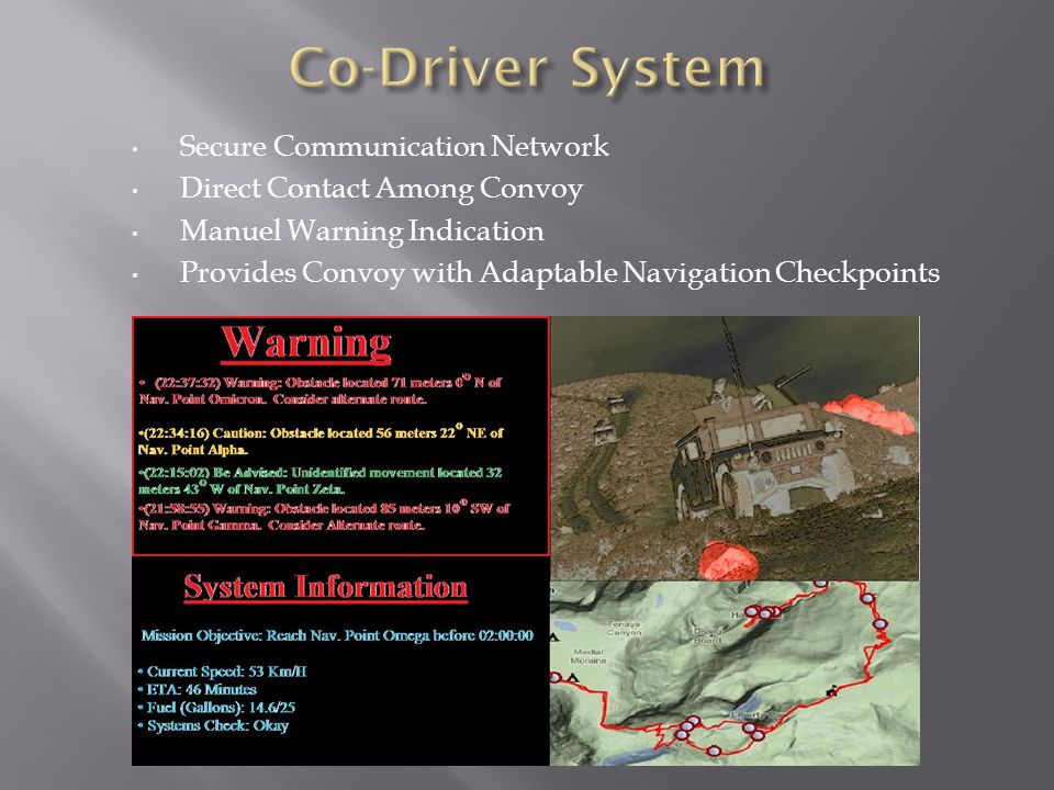 Secure Communication Network Direct Contact Among Convoy Manuel Warning Indication Provides Convoy with Adaptable Navigation Checkpoints
