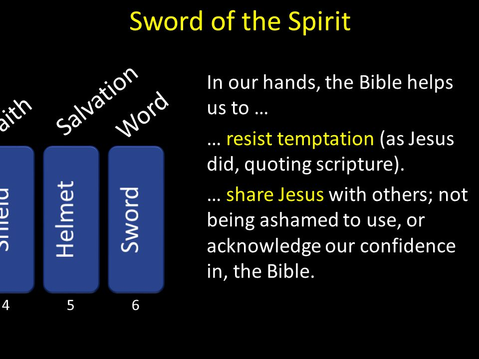 Faith Salvation Word In our hands, the Bible helps us to … … resist temptation (as Jesus did, quoting scripture). … share Jesus with others; not being