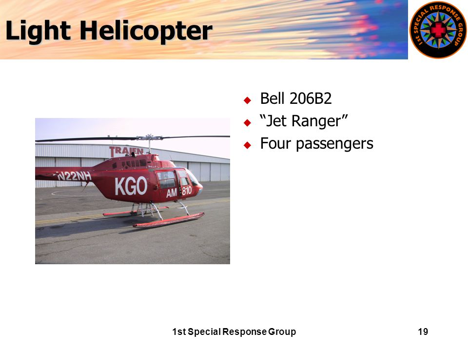 1st Special Response Group19 Light Helicopter u Bell 206B2 u Jet Ranger u Four passengers
