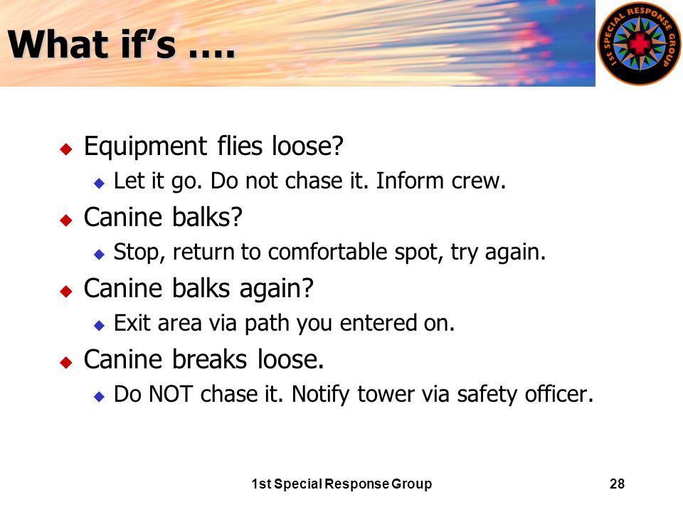 1st Special Response Group28 What if's …. u Equipment flies loose.