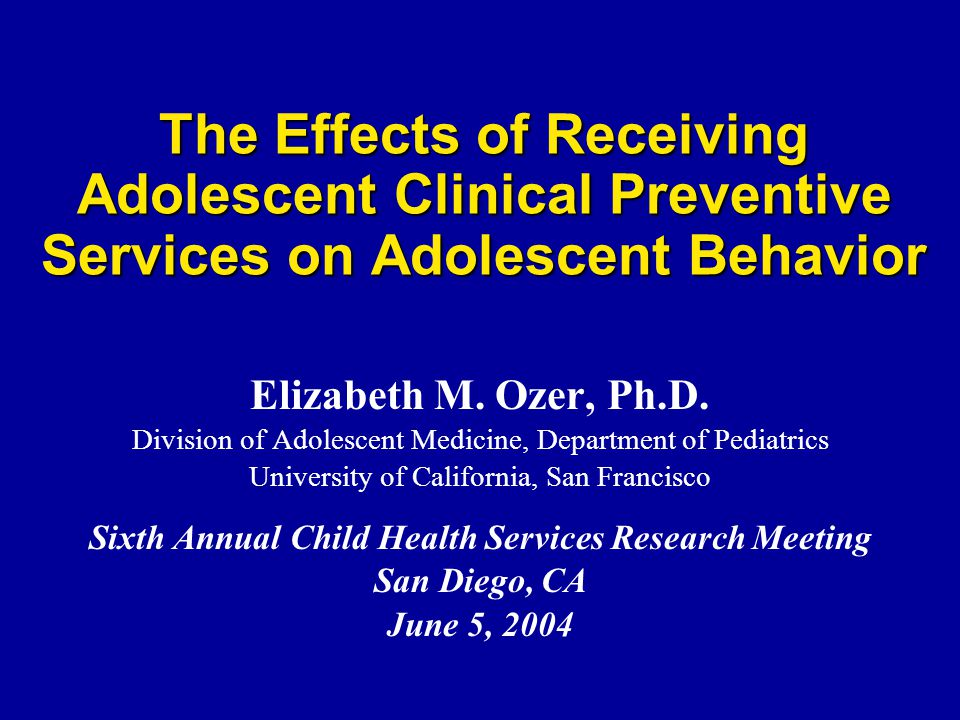 TRAINING  8-Hour Training for Pediatric Primary Care Providers  Adolescent Health and Development  Effective Communication with Adolescents  Gave Clinicians Targeted Specific Messages about Risk Behaviors