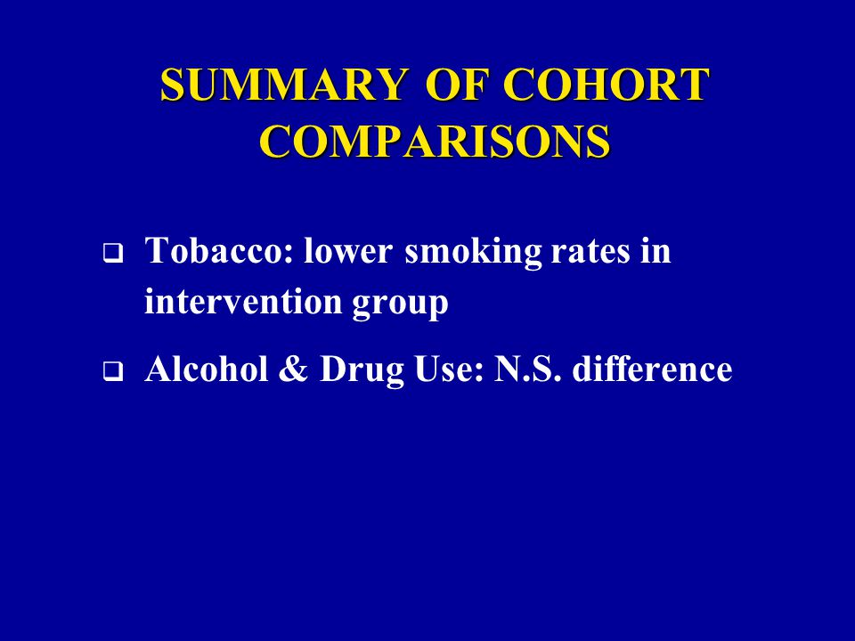SUMMARY OF COHORT COMPARISONS  Tobacco: lower smoking rates in intervention group  Alcohol & Drug Use: N.S.
