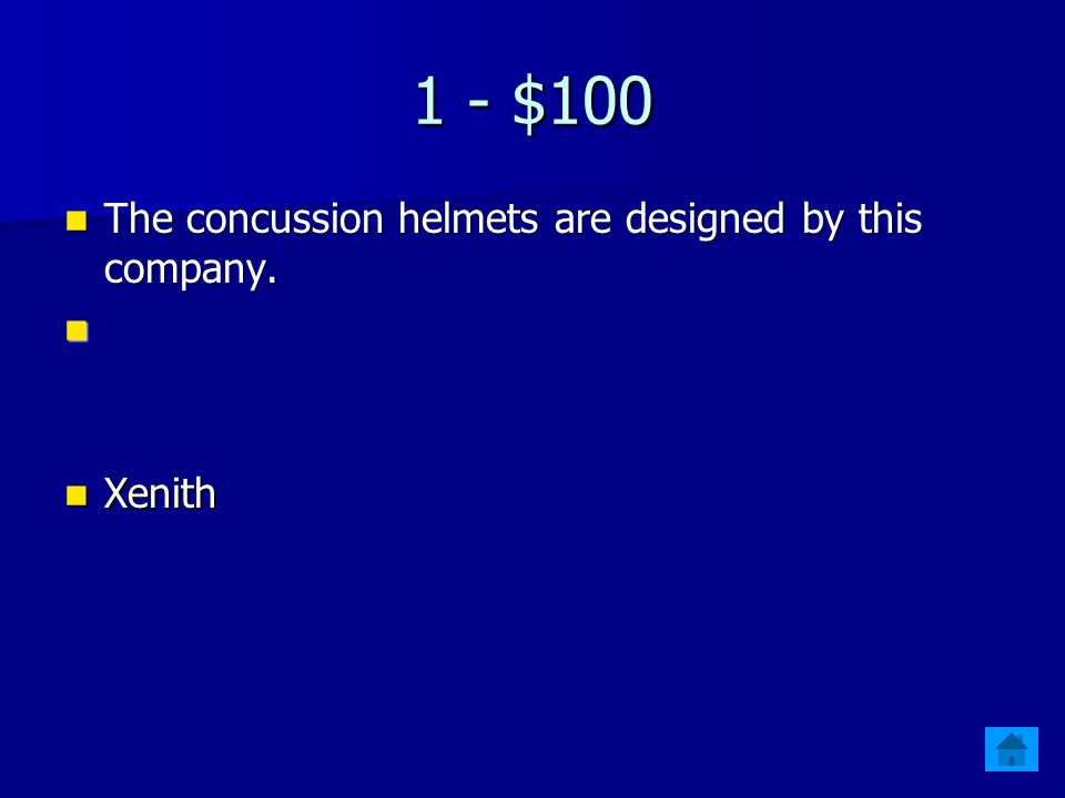 Jeopardy $100ConcussionConcessionsNinety-Four50 My Name is HAWKEYE!SpringFlingCOMEtoTERMS $200 $300 $400 $500 $400 $300 $200 $100 $500 $400 $300 $200 $100 $500 $400 $300 $200 $100 $500 $400 $300 $200 $100 Final Jeopardy Final Jeopardy