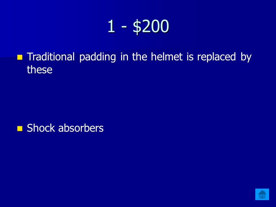 1 - $200 Traditional padding in the helmet is replaced by these Shock absorbers