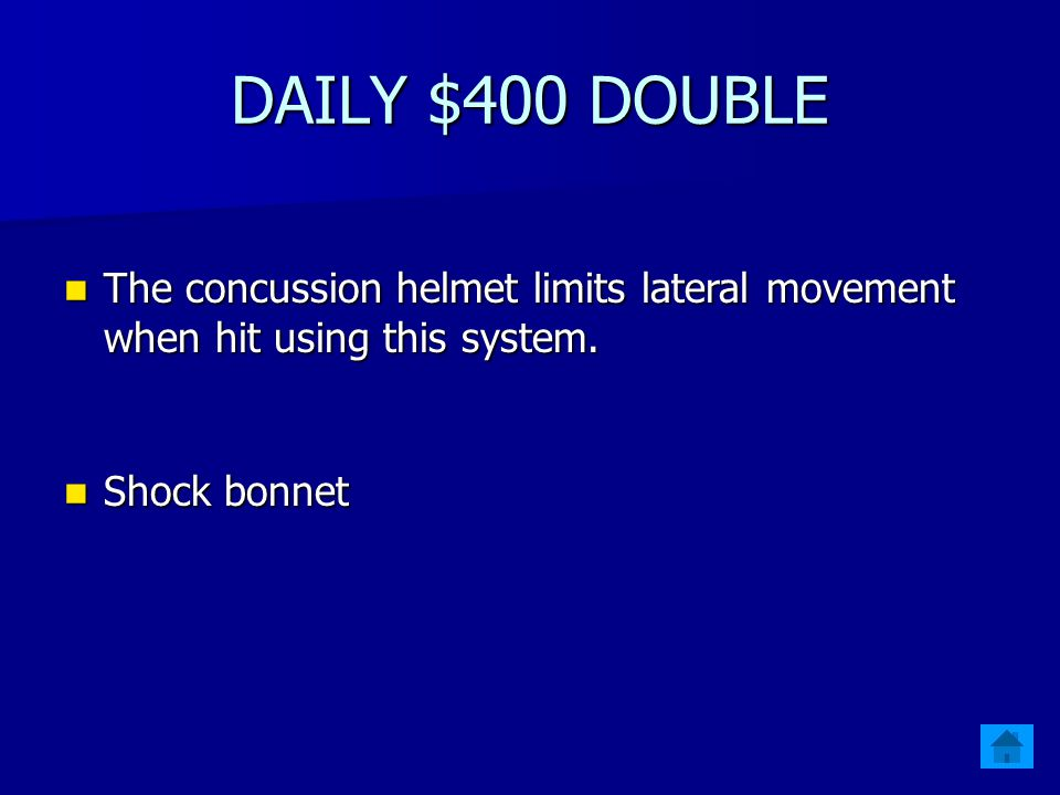 1 - $300 Xenith developed this system to help football players secure the helmet to their heads.
