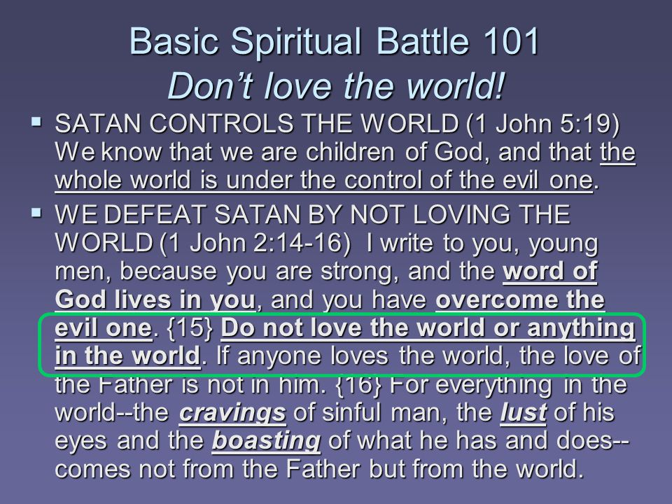 Basic Spiritual Battle 101 Don't love the world.
