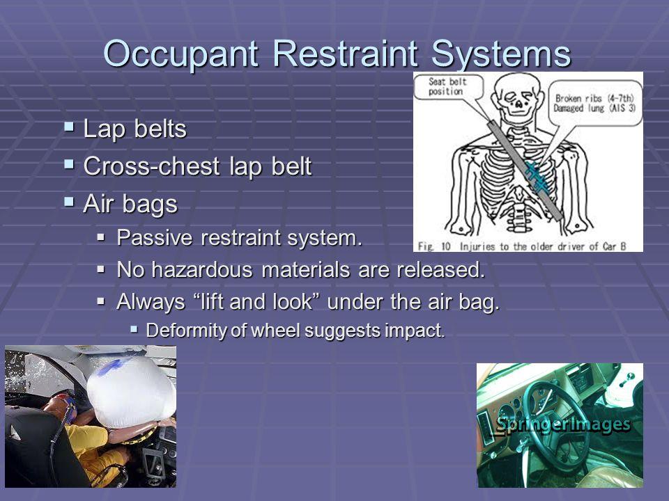 Occupant Restraint Systems  Lap belts  Cross-chest lap belt  Air bags  Passive restraint system.