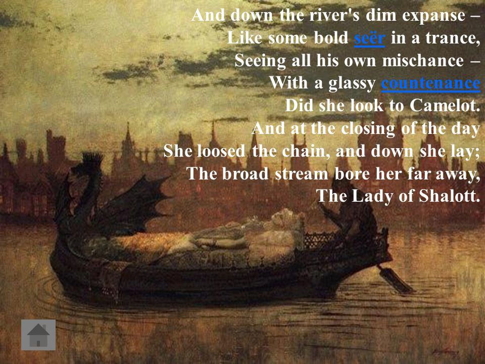 Part IV. In the stormy east-wind straining, The pale-yellow woods were waning,waning The broad stream in his banks complaining, Heavily the low sky ra