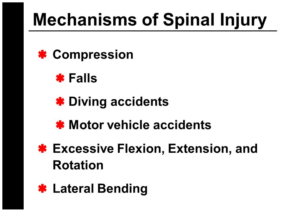 Mechanisms of Spinal Injury Compression Falls Diving accidents Motor vehicle accidents Excessive Flexion, Extension, and Rotation Lateral Bending