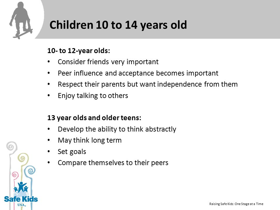 Children 10 to 14 years old 10- to 12-year olds: Consider friends very important Peer influence and acceptance becomes important Respect their parents but want independence from them Enjoy talking to others 13 year olds and older teens: Develop the ability to think abstractly May think long term Set goals Compare themselves to their peers Raising Safe Kids: One Stage at a Time