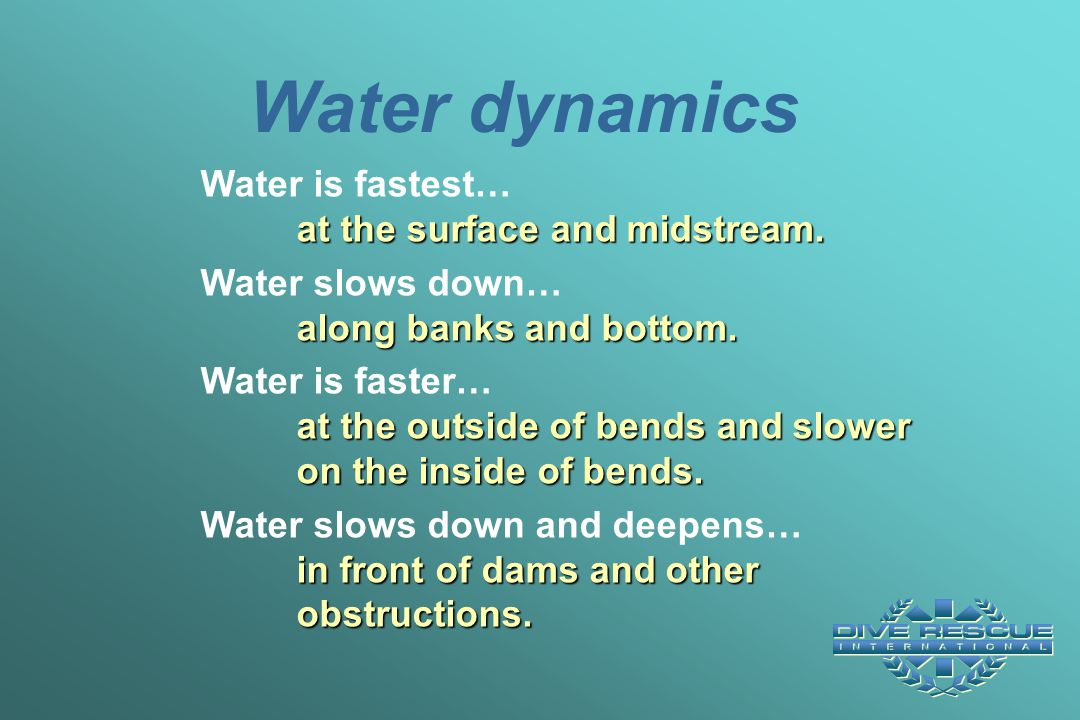 Water dynamics at the surface and midstream. Water is fastest… at the surface and midstream. along banks and bottom. Water slows down… along banks and
