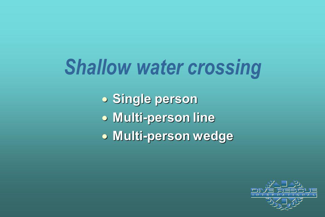 Shallow water crossing  Single person  Multi-person line  Multi-person wedge