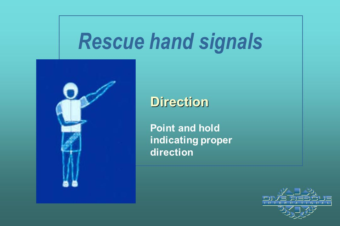 Rescue hand signals Direction Point and hold indicating proper direction