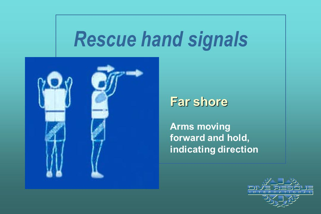 Rescue hand signals Far shore Arms moving forward and hold, indicating direction