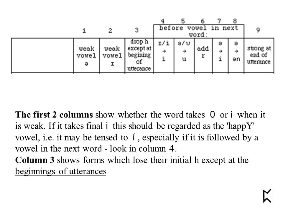 The first 2 columns show whether the word takes 0 or i when it is weak. If it takes final i this should be regarded as the 'happY' vowel, i.e. it may