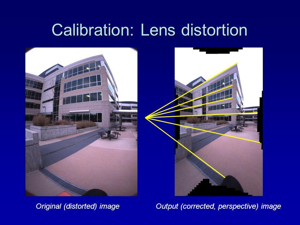 Calibration: Lens distortion Original (distorted) imageOutput (corrected, perspective) image