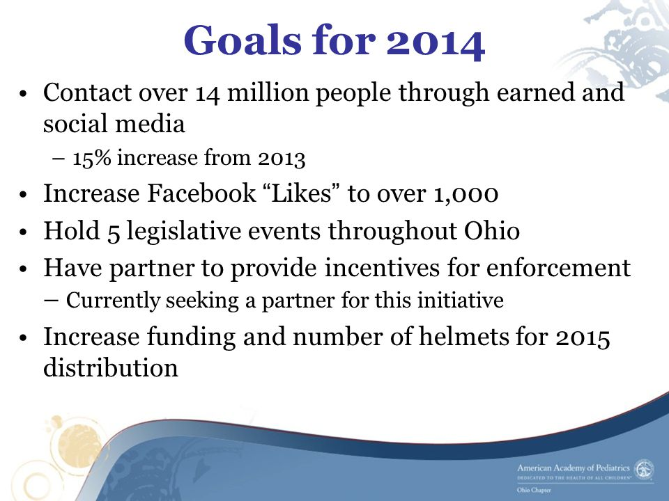 Goals for 2014 Contact over 14 million people through earned and social media –15% increase from 2013 Increase Facebook Likes to over 1,000 Hold 5 legislative events throughout Ohio Have partner to provide incentives for enforcement – Currently seeking a partner for this initiative Increase funding and number of helmets for 2015 distribution