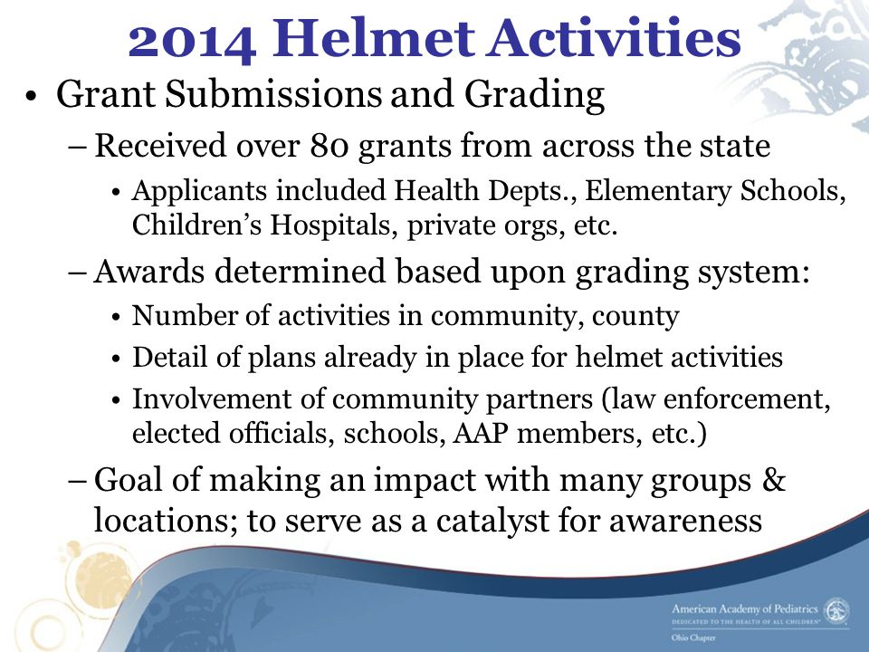 2014 Helmet Activities Grant Submissions and Grading –Received over 80 grants from across the state Applicants included Health Depts., Elementary Schools, Children's Hospitals, private orgs, etc.
