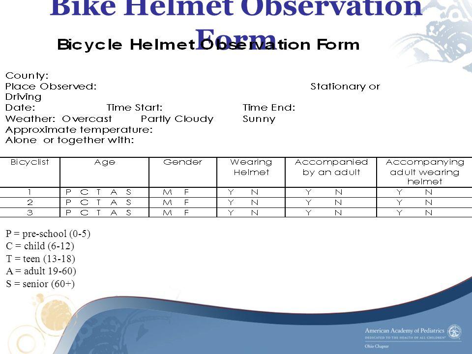 Bike Helmet Observation Form P = pre-school (0-5) C = child (6-12) T = teen (13-18) A = adult 19-60) S = senior (60+)