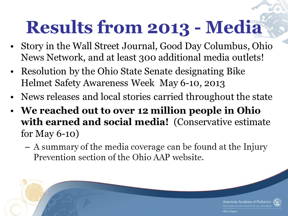 Results from 2013 - Media Story in the Wall Street Journal, Good Day Columbus, Ohio News Network, and at least 300 additional media outlets.