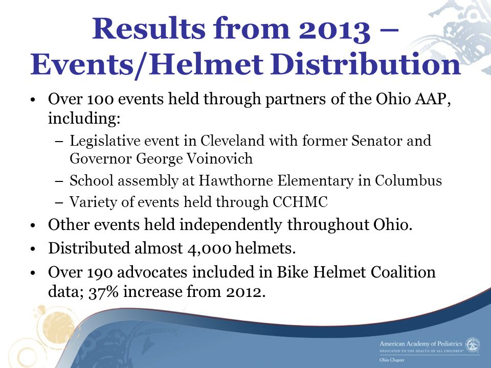 Results from 2013 – Events/Helmet Distribution Over 100 events held through partners of the Ohio AAP, including: –Legislative event in Cleveland with