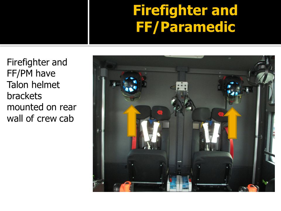 Firefighter and FF/Paramedic Firefighter and FF/PM have Talon helmet brackets mounted on rear wall of crew cab