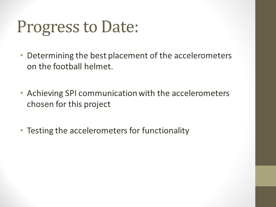 Progress to Date: Determining the best placement of the accelerometers on the football helmet.